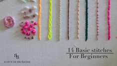Hand Embroidery for Beginners Part 14 basic stitches with drawing exp. Hand Embroidery for Beginners Part 14 basic stitches with drawing exp. Embroidery Stitches Tutorial, Learn Embroidery, Hand Embroidery Patterns, Embroidery Techniques, Ribbon Embroidery, Machine Embroidery, Knitting Stitches, Embroidery Sampler, Simple Embroidery