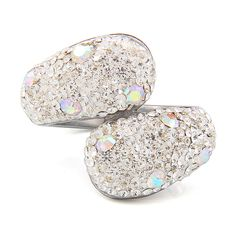 Fashion 316L Stainless steel jewelry Crystal Rhinestones Studded Finger Rings for women