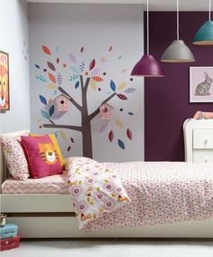 These cute birds are so pretty too and I love love love the wall decal. So clever and pretty.  #mamasandpapas #dreamnursery Patternology (Bird) - Single Bed Duvet Cover & Pillowcase Set - Patternology - Mamas & Papas
