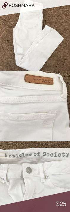 Articles of society skinny white jeans Articles of society label bought from Nordstrom. White jeans skinny fit. Note that the pockets in the front are fake but the pockets at the back are real. Perfect for any occasion! No visible dark marks on the jeans, looks perfectly white! There is some discoloring inside the jeans from where the label is sewed on, see last photo, but this is inside the jeans so not visible when you wear them at all. Superb condition. Articles Of Society Jeans Skinny
