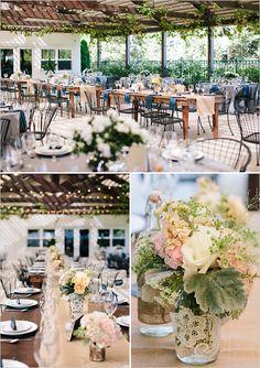 burlap centerpieces | patio wedding | farm table reception | #weddingchicks