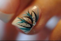 Peacock Nail designs great for the peacock wedding theme