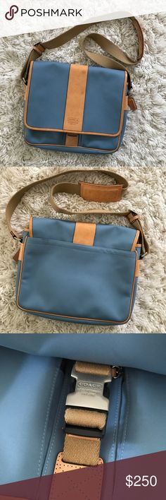 Coach • Baby Blue Cross Body Bag Coach • Check out this adorable and like new Coach cross body backpack/satchel.   Baby blue with tan accents. Cross body style. Large enough to fit an iPad or small laptop. Slots for pens & lots of storage. One small mark near buckle and on bottom right corner and mark on front leather, as shown in pictures above. All are minimal and barely noticeable. Overall, AWESOME condition.   ❄️ No trades. Bundle items for private discount. ❄️ Coach Bags Satchels