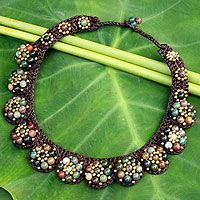 Agate beaded necklace, 'Daisy Melody' by NOVICA