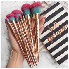 """fromsandyxo """"Can I offer you a rainbow ? Loving these Rainbow Collection brushset* which contains 6 face brushes and 4 eye brushes. The handle design is and the bristles are so soft"""" - Makeup Brush Storage, Makeup Brush Cleaner, Makeup Brush Holders, Makeup Brush Set, Makeup Organization, Makeup Goals, Makeup Inspo, Beauty Makeup, Hair Beauty"""