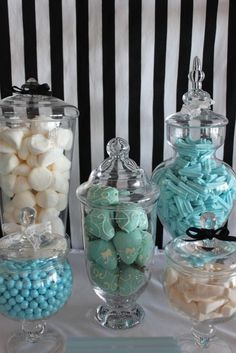 Candy jars at a TIFFANY & CO Bridal Shower Party!  See more party ideas at CatchMyParty.com! #Tiffany