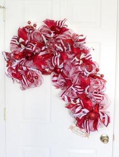XL Candy Cane Wreath, Christmas Wreath, Peppermint Wreath, Holiday Wreath, Whimsical Christmas Wreath, Candy Cane Decor by Splendid Homecrafts on Etsy