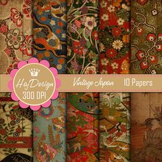Vintage Japan Floral Ornamental Digital Paper Pack Scrapbook Paper Decoupage Paper Background Texture 10 Papers         November 24, 2013 at 10:54AM
