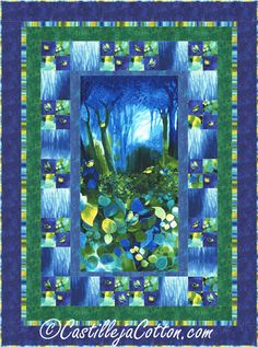 Deep Forest Quilt Pattern CJC-5112 Easy to make using a pre-printed panel and simple 4-patch block.