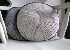 Grey Round Crochet Cushion (via AMagpieAndADove's Etsy Store)