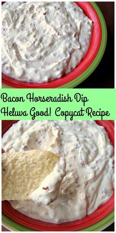 Copycat Recipe- Homemade Bacon Horseradish Dip that tastes just like the popular brand is perfect for a New Year's party. Made with real bacon, horseradish sauce, and sour cream, it's easy to make and full of flavor. Bacon Recipes, Copycat Recipes, Appetizer Recipes, Appetizers, Cooking Recipes, Cheese Recipes, Salad Recipes, Corn Dogs, Sour Cream