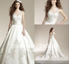 New Arrival Elegant V Neck Wedding Dress 2014 With Lace Appliques Vestido De Noiva Ball Gown Free Shipping  $168.99