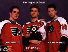 The Legion Of Doom. One of the greatest lines in hockey, ever ! Flyers Hockey, Hockey Games, Hockey Mom, Hockey Players, Ice Hockey, Kings Hockey, Bruins Hockey, Hockey Stuff, Eric Lindros