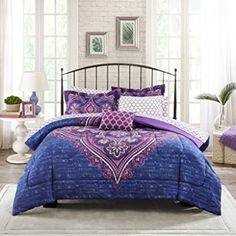 Mainstays Teens' Grace Purple Floral Reversible Medallion Bedding FULL Comforter Sets for Girls Piece in a Bag) Kids' Bedding Sets & Collections Beige Bedding Sets, Full Comforter Sets, Purple Bedding, Queen Bedding Sets, King Comforter, Lavender Bedding, Teen Girl Comforters, Teen Bedding, Urban Outfitters