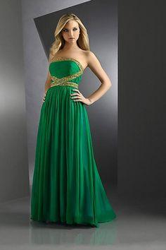 Column Empire Grün Chiffon modernes trägerloses bodenlanges Abendkleid