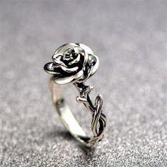 Eye Catching Silver Rose Fashion Ring  - $58.99