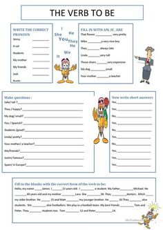 Awesome Verb Be Worksheets that you must know, Youre in good company if you?re looking for Verb Be Worksheets Teaching English Grammar, English Grammar Worksheets, Verb Worksheets, English Verbs, Grammar Lessons, English Class, English Lessons, Printable Worksheets, English Vocabulary