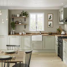 Sage Green Kitchen, Green Kitchen Cabinets, Green Country Kitchen, Kitchen Without Top Cabinets, Wood Worktop Kitchen, Kitchen Cabinets Designs, Green Kitchen Paint, Wooden Kitchen Floor, Wooden Kitchens