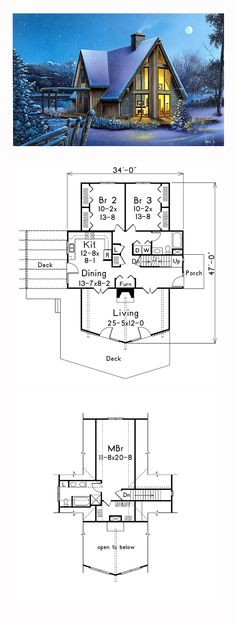 A-Frame House Plan 87366 | Total Living Area: 1769 sq. ft., 3 bedrooms and 2 bathrooms. #aframe