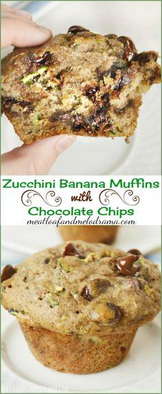 zucchini banana muffins with chocolate chips