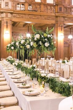 Pomp&Bloom summer green and white tall wedding centerpieces with greenery runner Green Wedding Centerpieces, Greenery Centerpiece, Wedding Table Flowers, Wedding Decorations, Centerpiece Ideas, Green Wedding Flower Arrangements, Tall Flower Centerpieces, Green And White Wedding Flowers, Floral Arrangements