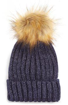 efc4cb354f5 Sole Society Faux Fur Pom Knit Beanie Fur Pom Pom