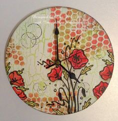 MDF clock, Poppy Elements stamp set, stencil & stencil paints, all from Imagination Crafts.