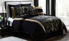Oversized, overfilled quilted comforter set with faux velvet printing and hotel-quality feel