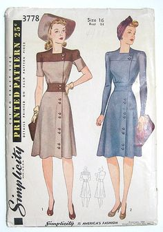 1940s Day Dress, Contrasting Shoulder Yoke & Side Buttons. Simplicity Sewing Pattern 3778 Size 16 Bust 34 Waist 28 Hip 37