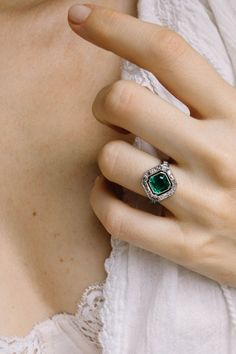 Art Deco Cartier vintage engagement ring centering upon an emerald-cut emerald w. - Art Deco Cartier vintage engagement ring centering upon an emerald-cut emerald weighing approximate - Diamond Wedding Bands, Halo Diamond, Diamond Cuts, Wedding Rings, Diamond Rings, Deco Engagement Ring, Vintage Engagement Rings, Vintage Rings, Vintage Art