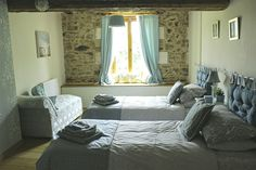 First floor twin bedded room at Les Petites Cerises Holiday home Stone Farms, Farm Cottage, French Chic, Rustic Charm, Twin, France, Flooring, Contemporary, Bedroom
