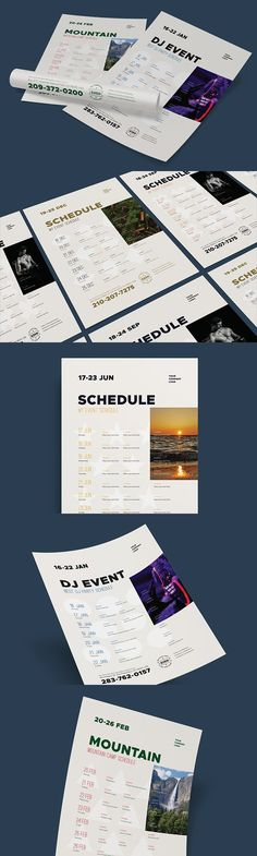 Schedule event poster template, vol2. Flyer Templates. $7.00