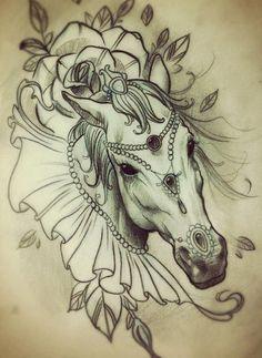 Unicorn, stomach tattoo on TattooChief.com