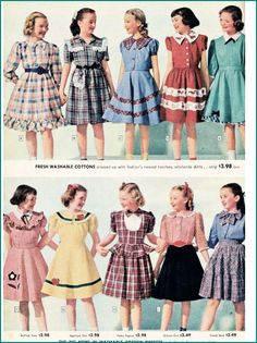 1940's fashion sears catalogue girls dresses