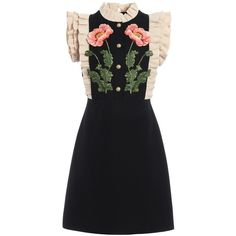 Floral Embroidered Dress (39.849.945 IDR) ❤ liked on Polyvore featuring dresses, black, womenclothingdresses, button front dress, gucci, back zipper dress, short dresses and zip back dress