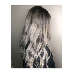 Silver. Root Melt. Grey Hair. Long Hair. Waves. Wavy Hair. Grey Hair, Hair Ideas, Stylists, Waves, Long Hair Styles, Silver, Beauty, Gray Hair, Long Hairstyle