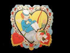 Carrington Co Folding Valentine Card Die Cut Embossed 3 1/4 - A