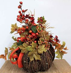 Lighted Fall Pumpkin, Fall & Thanksgiving Centerpiece