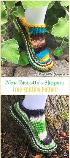 Knit New Biscotte's Slippers Free Pattern - Knit Adult Slippers Free Patterns