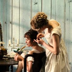 """the-garden-of-delights: """" Keira Knightley as Elizabeth Bennet and Rosamund Pike as Jane Bennet in Pride and Prejudice """" Elizabeth Bennett, Pride And Prejudice 2005, Image Film, Jane Austen Novels, Mr Darcy, Princess Aesthetic, Keira Knightley, Cultura Pop, Period Dramas"""