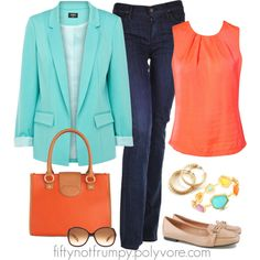 """Aqua and Coral"" by fiftynotfrumpy on Polyvore"