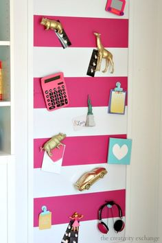 Diy Large Magnetic Board with Spray Painted Toys for Magnets Large Magnetic Board, Magnetic Wall, Girl Room, Girls Bedroom, Bedrooms, Fabric Painting, Diy Painting, Metallic Spray Paint, Diy Magnets