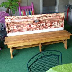 Ford Tailgate bench...my hubby loved his present from a pin I found to make our Father's Day gift project!