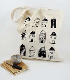 Tote Bag  Little Houses  Cotton Tote by susansimonini on Etsy