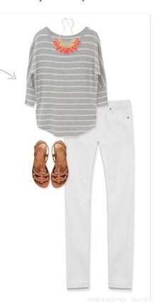 I like the fit of this shirt and the white jeans. The coral gives a nice touch, but maybe not for fall