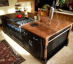 Copper countertops are antibacterial and a less expensive way to get a custom look