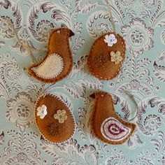 Toffee Chocolate Egg and Bird Easter Felt Ornaments by MissMilupka, $12.00
