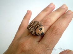 Hand Painted Hedgehog  Ring, adjustable , unique wearable art, stone painting rockart, river rocks. $32.00, via Etsy.