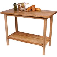 "John Boos Kitchen Utility Table.  30"" x 20"" x 36""hi without casters.  This size would fit for sure, but might it be too small to look good?  $429. Maple.  A utility drawer can be added for $135."