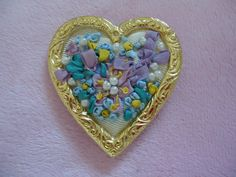 Vintage Handmade Embroidered Colorful Heart by GrannysInspirations